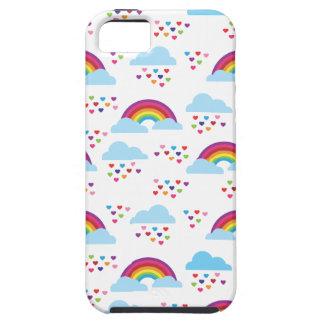 El amor retro lindo del corazón del arco iris embr iPhone 5 carcasas