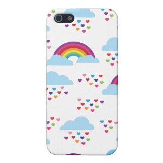 El amor retro lindo del corazón del arco iris embr iPhone 5 coberturas