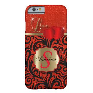 El amor rojo elegante el   del brillo personaliza funda de iPhone 6 barely there