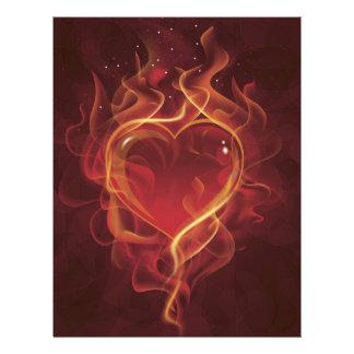 El amor rojo oscuro del fuego de FlamingHeart flam Tarjetas Informativas