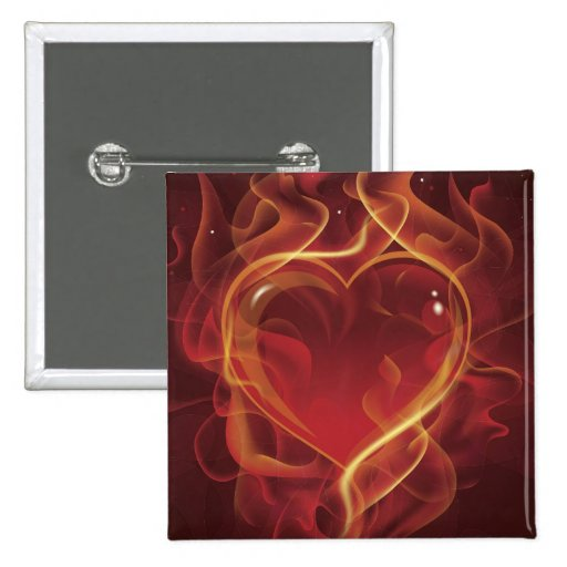 El amor rojo oscuro del fuego de FlamingHeart flam Pin