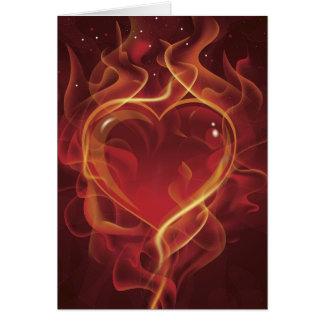 El amor rojo oscuro del fuego de FlamingHeart flam Felicitaciones