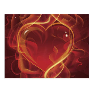 El amor rojo oscuro del fuego de FlamingHeart flam Postales