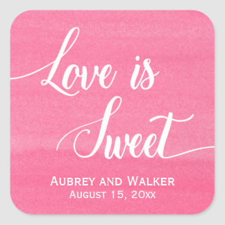 El amor rosado de la acuarela es pegatinas dulces pegatina cuadrada