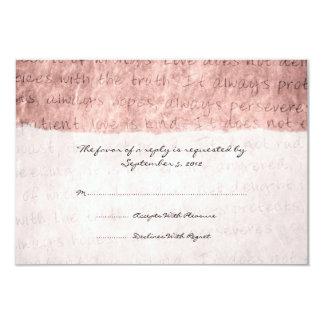 """El amor rosado es vintage paciente que casa RSVP Invitación 3.5"""" X 5"""""""