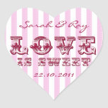 El amor rosado y blanco de la raya del caramelo es