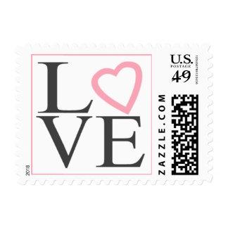 El amor sella el boda gris oscuro y rosa claro sello postal