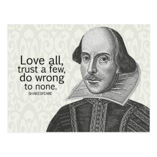 El amor todo de Shakespeare, confía en algunos, Postal