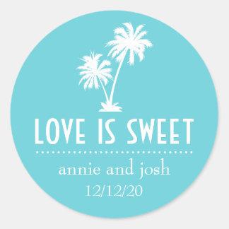 El amor tropical de la palmera es etiqueta dulce