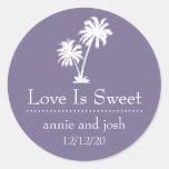 El amor tropical de la palmera es etiqueta dulce (