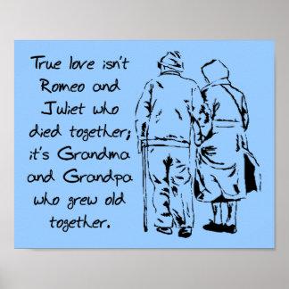 El amor verdadero crece la vieja muestra romántica poster