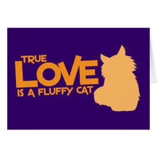 El AMOR VERDADERO es un gato mullido Tarjeta De Felicitación