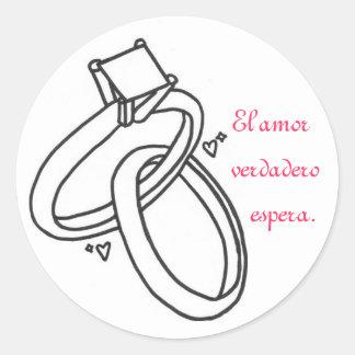El amor verdadero espera. classic round sticker
