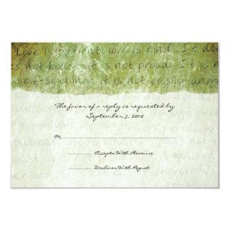 """El amor verde es vintage paciente que casa la invitación 3.5"""" x 5"""""""