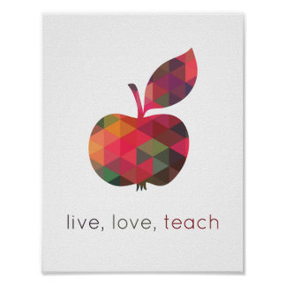 El amor vivo enseña a la sala de clase geométrica póster