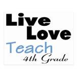 El amor vivo enseña al 4to grado (azul) postal