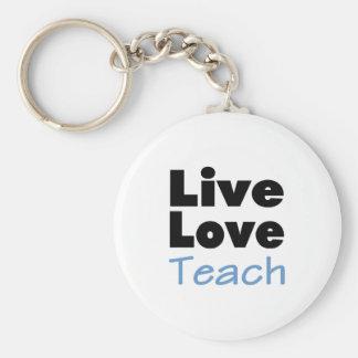 El amor vivo enseña (el azul) llavero redondo tipo pin