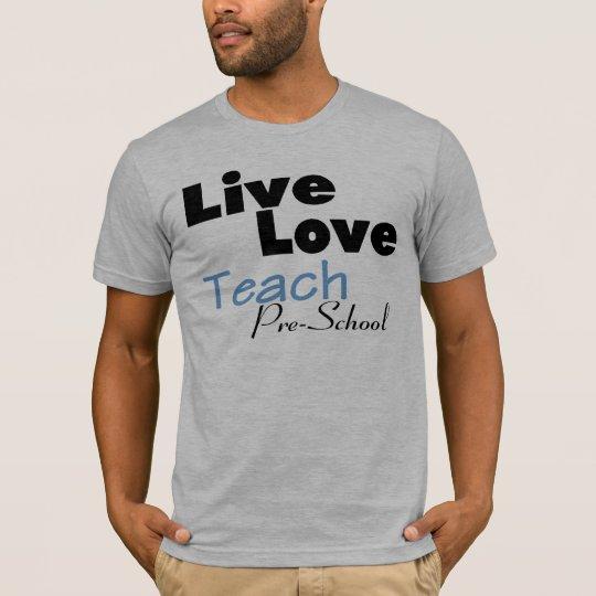 El amor vivo enseña pre a la escuela (azul) playera