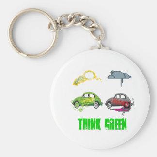 El amor vivo recicla personalizable verde llaveros