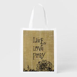 El amor vivo ruega la afirmación cristiana de la bolsa reutilizable