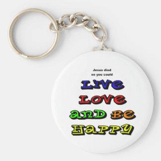 El amor vivo y sea feliz llavero