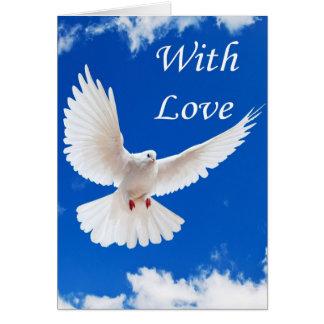 El amor vuela adentro tarjeta de felicitación
