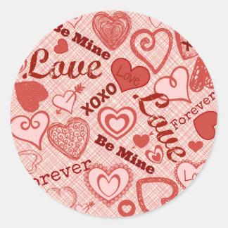El amor XOXO sea el mío para siempre el día de San Pegatina Redonda