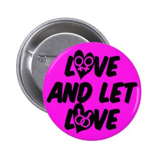 El amor y dejó el botón del amor pin redondo de 2 pulgadas