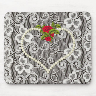 """El """"amor y"""" el cordón lleno romántico/añaden su alfombrilla de raton"""