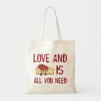 El amor y el pastel de queso es todo lo que usted bolsa tela barata