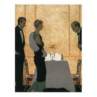 El amor y el romance del vintage, juntan la cena e tarjetas postales