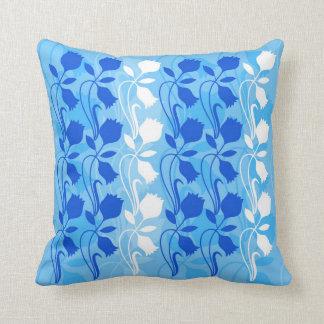 El amortiguador azul de la impresión floral, 1 de cojines