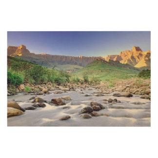 El Amphitheatre y el río de Tugela en Drakensberg Cuadro De Madera