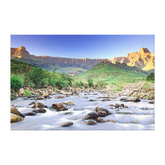 El Amphitheatre y el río de Tugela en Drakensberg Impresión En Lona Estirada