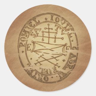 El amuleto mágico asegura encantos de la magia de pegatina redonda