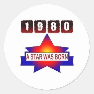 El an o 80 una estrella nació pegatina redonda