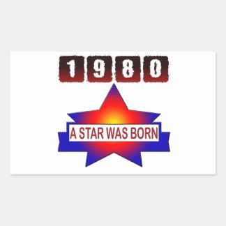 El an o 80 una estrella nació pegatina rectangular