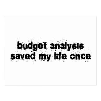 El análisis del presupuesto ahorró mi vida una vez tarjetas postales