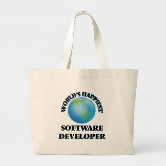 El analista de programas informáticos más feliz bolsa tela grande