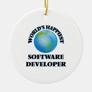 El analista de programas informáticos más feliz adorno redondo de cerámica
