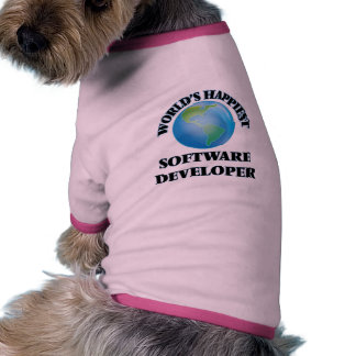 El analista de programas informáticos más feliz camiseta con mangas para perro