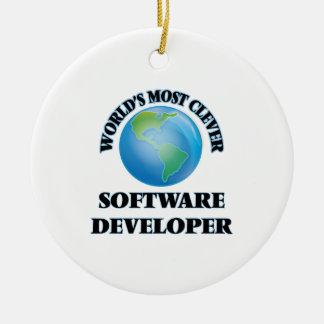 El analista de programas informáticos más listo adorno redondo de cerámica
