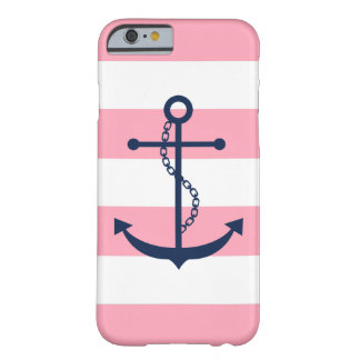 El ancla azul en rosa raya tema náutico funda para iPhone 6 barely there