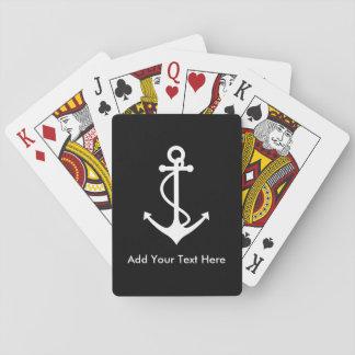 El ancla blanca de encargo añade su propio texto baraja de póquer