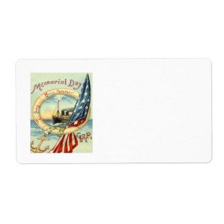 El ancla de la bandera de los E.E.U.U. florece el Etiqueta De Envío