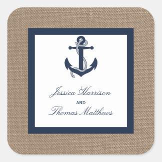 El ancla de la marina de guerra en la colección pegatina cuadrada