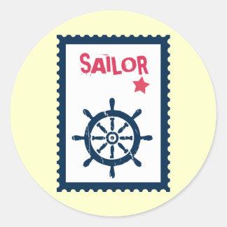 El ancla de la nave - anclas náuticas de la nave etiqueta redonda
