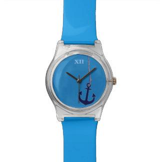 el ancla de la nave azul marítima relojes de mano