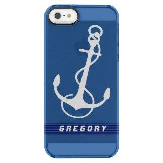 El ancla náutica blanca del barco raya acentos funda clearly™ deflector para iPhone 5 de uncommon
