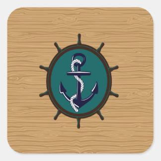 El ancla náutica envía diseño del marinero del tim colcomanias cuadradas